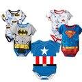 2016 новорожденный мальчик одежды Ropa Bebe хлопка с коротким рукавом супермен ребенка комбинезон ребенка костюм бэтмен день рождения одежды тела