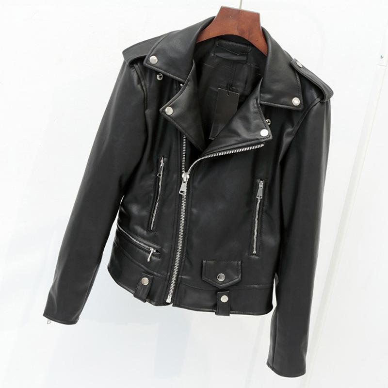 New Women Black   Leather   Jackets 2019 Spring Autumn Bikers   Leather   Coats Ladies Causal Short Moto Jacket Jaqueta Couro Feminino