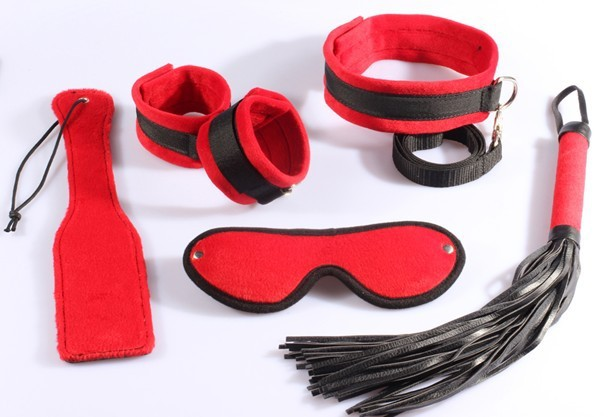 ФОТО Time-limited Promotion Fetish Sex Toys Dildo 5 Sets:mask, Whip, Collar,sex Toy leather
