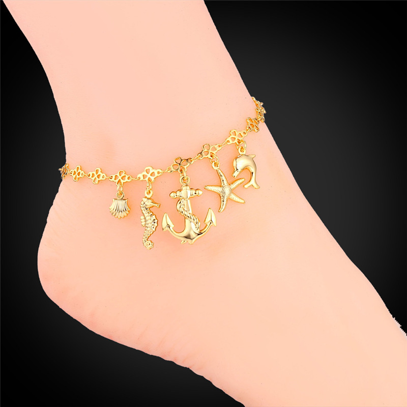 gold ankle plated with on charm product chain stainless crystals anklet yellow steel