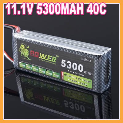 ФОТО Lion power Li-PO 11.1V 5300MAH 40C high capacity lithium polymer battery for rc heli cars truck R/C model toy +free shipping