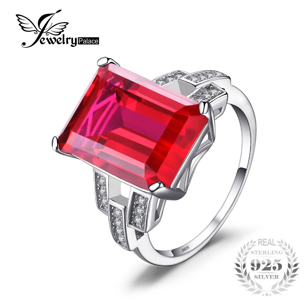 JewelryPalace Luxury Emerald Cut 9 2ct Created Red Ruby Cocktail Ring 925 Sterling Silver Jewelry for