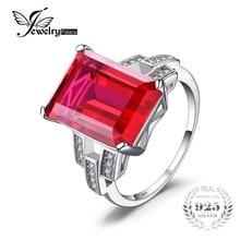 JewelryPalace Lujo Emerald Cut 9.2ct Creado Rojo Rubí Anillo de Cóctel Anillo de 925 Joyería de Plata Esterlina para Las Mujeres de Moda