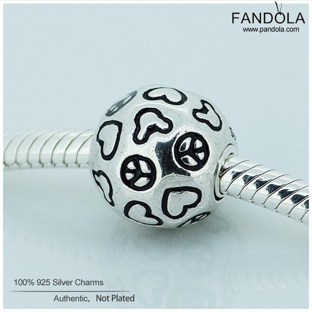 Se adapta a pandora charms pulsera original de 925 encantos de la plata esterlina de la joyería paz amor y ratón granos diy fabricación de la joyería para las mujeres