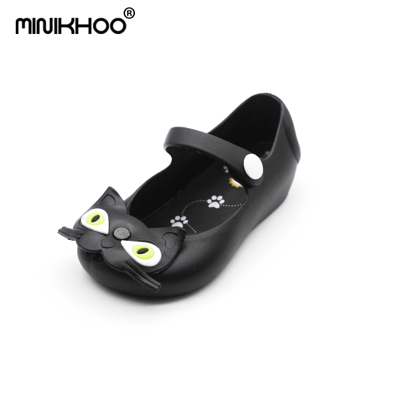 Mini Melissa Cats Girl Jelly Sandals Jelly Shoes Buckle Cat Brazil Princess Sandals Baby Shoes Children Beach Shoes Girl Sandals