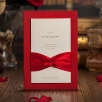 100pcs Red Hollow Laser Cut Wedding Invitations Card Personalized Custom Printable Ribbon Envelope Wedding Party Decoration