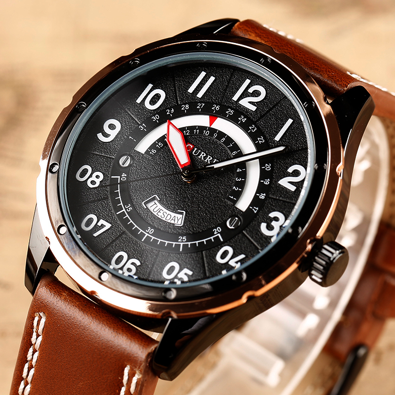 2017 CURREN Watches Fashion Casual Men watch Sport Clock Male Military Quartz Wristwatch Leather Watch Relogio Masculino 8267 genuine curren brand design leather military men cool fashion clock sport male gift wrist quartz business water resistant watch