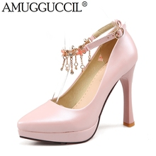 2017 New Arrival Plus Big Size 34-43 Pink Beige Blue Buckle Fashion Sexy High Heel Platform Spring Lady Shoes Women Pumps D1040