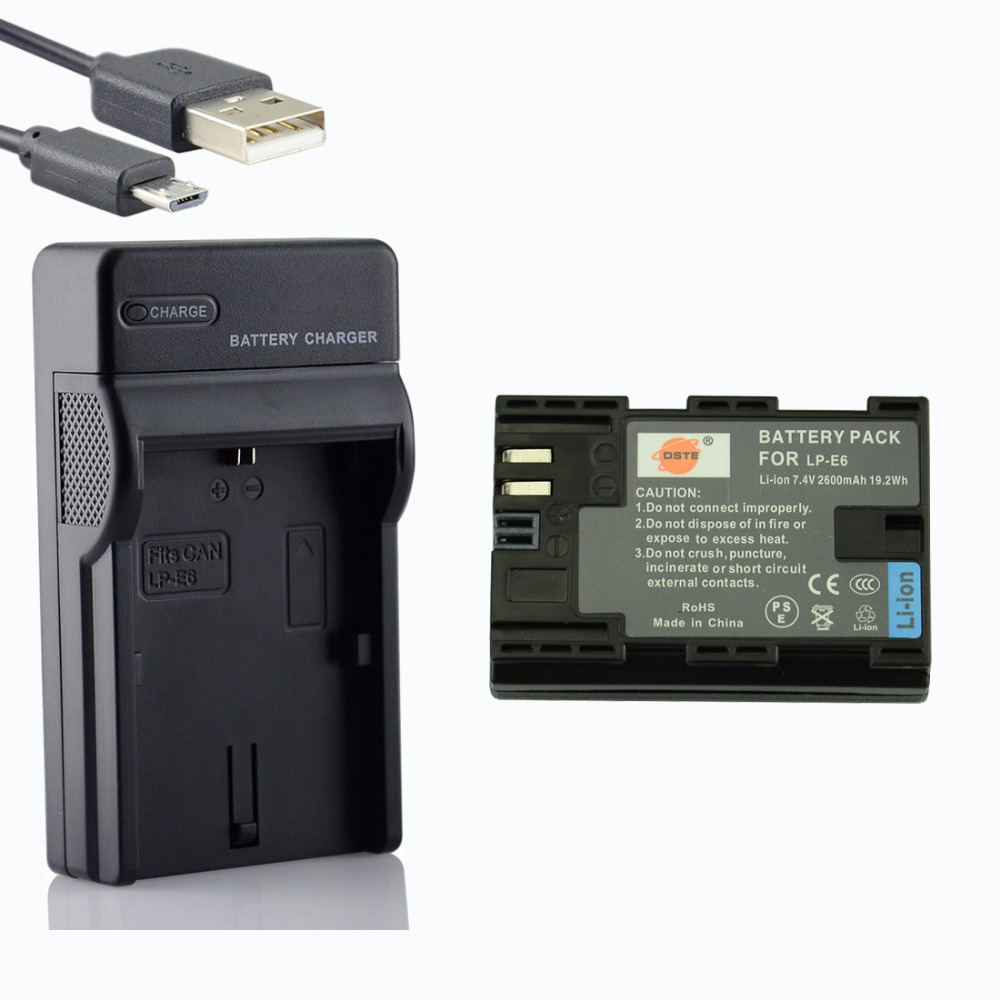 Galleria fotografica DSTE 2600 mAh LP-E6 LP E6 LP-E6N Camera Battery With USB Charger for CANON EOS 5DS R 5D Mark II 5D Mark III IV 6D 7D 7D Mark II