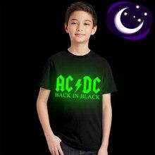 eab6b557d7c15 Lumineux ACDC enfants T-shirt Fluorescent AC DC lettre Logo impression enfants  T-shirt lueur dans foncé AC DC graphique garçon f.
