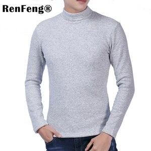 Image 4 - Dài tay áo cotton nam có cổ cao cấp t áo mùa đông 2018 Slim Fit Dép Nỉ Rùa cổ t áo sơ mi nam quần lót