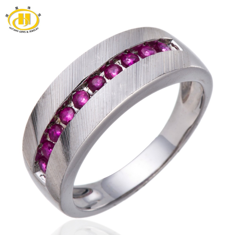 Hutang Hot Genuine Ruby Gemstone Solid 925 Sterling Silver Band Ring Women's Trendy Fine Jewelry Free Shipping hot sell new free shipping 925 sterling silver soldier boluomiduo theheart sutra scripture ring mens