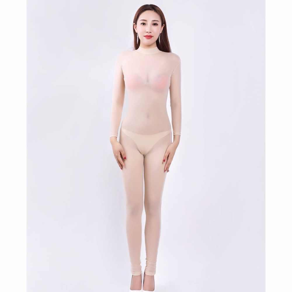 Color caramelo de manga larga Bodysuit mono enterito para Mujer Transparente Wetlook Bodystocking Sexy caliente Lencería erótica tieddies Overol