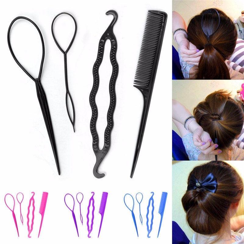 Haimeikang 4Pc/Set Hair Twist Styling Hair Clip Stick Bun Maker Braid Tools The Gum of Hair Accessories for Women Lady Girls