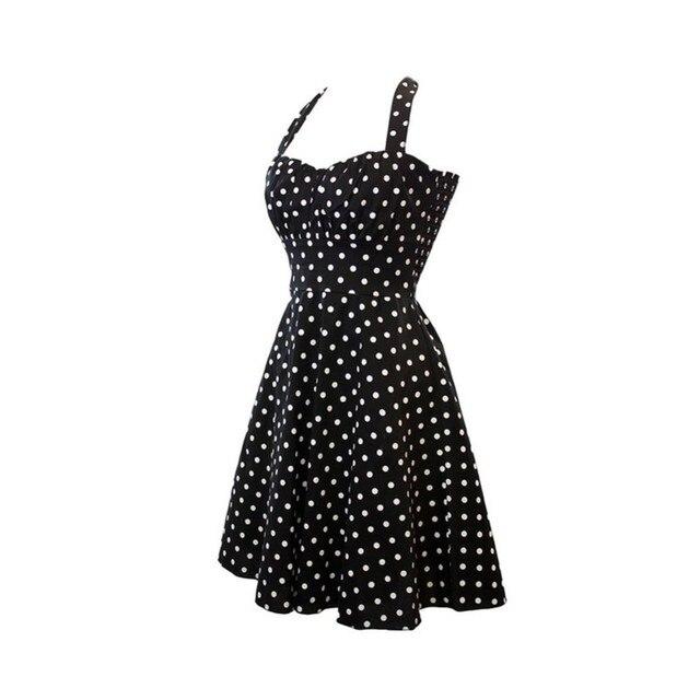 Dell annata di Estate Vestito Delle Donne Pois Vestito Rockabilly Retro  Swing anni  60 a4a1991b698