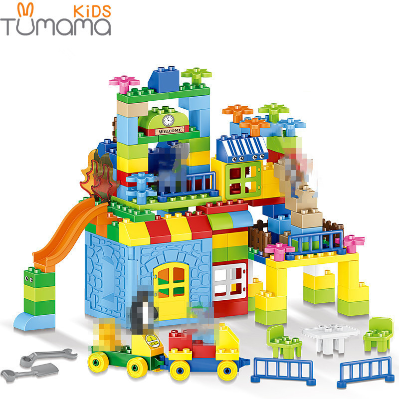 Tamanho grande Modelo de Construção De Brinquedos Blocos de Construção 160pcs Parque de Diversões Grande Tamanho Kid Brinquedo Educativo Blocos Compatíveis Brinquedos Dos Miúdos