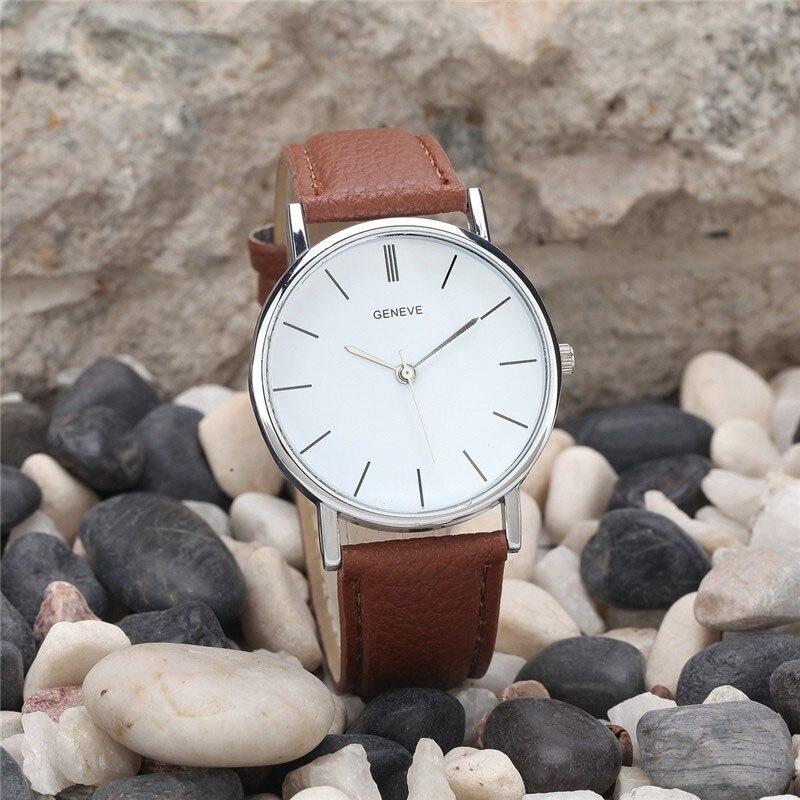 2019 FashionMen Women Leather Analog Stainless Steel Quartz Wrist Watch Reloj Mujeres
