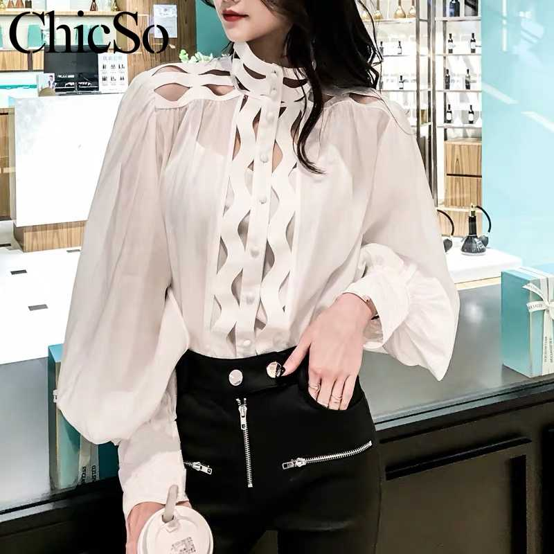 MissyChilli Sexy white lantern sleeve women shirt Elegant  patchwork shirt Summer female party club causal blouse shirt beach