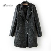 Lamb wool stichting long coat 2016 New Wool coat woman jacket autumn overcoat Woollen coat slim