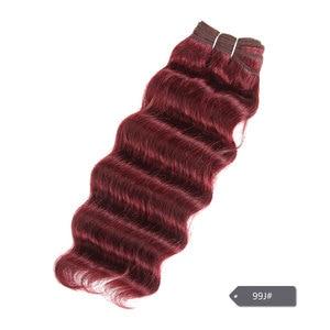 Image 5 - Sleek Nature Hi Deep Hair 1 Piece Only Brazilian Deep Wave Human Hair Weave Bundles Deal #27 99J Burgundy Remy Hair Extension