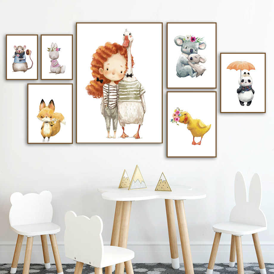 Cute Girl Duck Fox Panda Rabbit Wall Art Canvas Painting Nordic Posters And Prints Watercolor Wall Pictures For Kids Room Decor