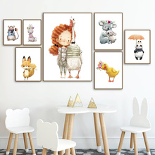 Cute Girl Duck Fox Panda Rabbit Wall Art Canvas Painting Nordic Posters And Prints Watercolor Pictures For Kids Room Decor