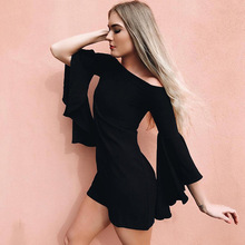 Summer Women Sexy Mini Dress Slash Neck Flare Sleeve Short Slim Fit Dresses 2018 Fashion Casual Party Dresses Sheath Black Dress