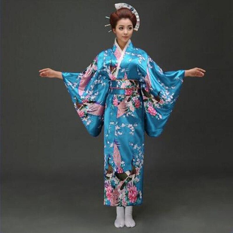 41fb50ede023 Danau Biru Merak Jepang Kimono Wanita Polyester Satin Kimono Yukata Gaun  Malam Haori Kimono dengan Obi