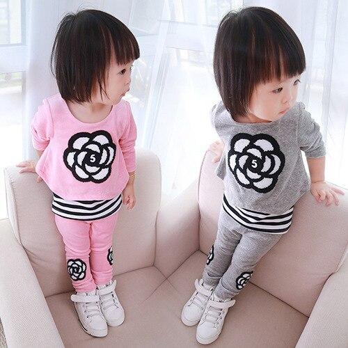 Корейская версия детская одежда Весной и Осенью одежды костюм девушки носить случайный ребенок набор дети досуг двух частей набор