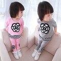 Versão coreana do desgaste Primavera e No Outono roupas terno meninas das crianças desgaste do bebê casuais definir crianças lazer duas peças conjunto