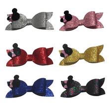 6pcs 4 inch Cat Ears Princess Hairgrips Glitter Hair Bows with Clip Dance Party Bow Hair Clip Girls Hairpin Hair Accessories glitter bow hair clip