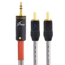 PAPRI MPS X 7 99.9997% OCC 24K זהב מצופה תקע DIY אישית 3.5mm ל 2 RCA אודיו 2 RAC זכר 3.5 זכר רמקול כבל