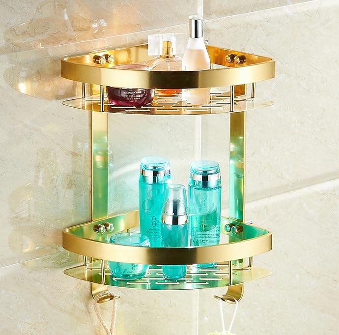 Bathroom Accessories,fashion Gold Design Shower Shampoo&toilet Storage Shelf/wall Mounted Bathroom Modern Basket/bath Furniture Home Improvement
