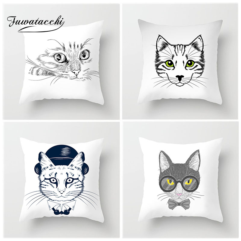 Fuwatacchi Cute Animal Painting Cushion Cover Cartoon Cat Avatar Pillow Decor Home Sofa Chair Decorative White Pillowcase