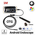 5.5 мм ДИАМЕТР 1 М Змея USB Гибкая Android Камеры Эндоскопа USB OTG Android Телефон Водонепроницаемый Труба Инспекции Бороскоп 6LED камера