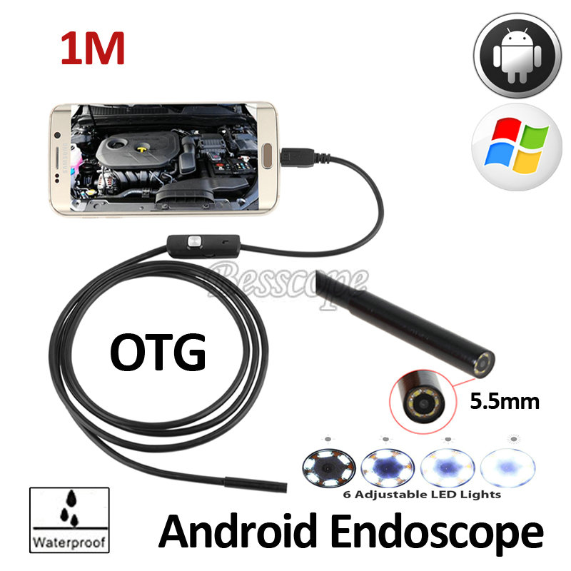 5.5mm OD 1M Snake USB Flexible Android Endoscope Camera  OTG USB Android Phone Waterproof Pipe Inspection Borescope 6LED Camera micro usb endoscope camera 7mm lens 1 5m flexible snake pipe inspection android phone otg usb borescope p67 waterproof camera
