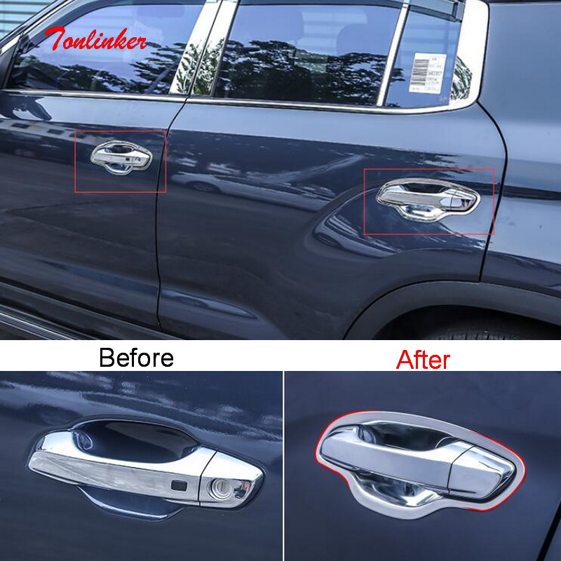 Tonlinker Cover sticker for Hyundai IX35 2018 19 Car styling 4 Pcs ABS/Stainless steel Exterior Door handle Bowl Cover Stickers