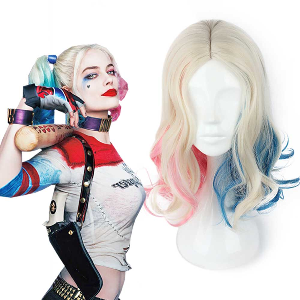 Harley Quinn Accessories Suicide Squad Harleen Quinzel Girls Blue and Pink Gradient Curls Shoulder-length Curly Hair Accessories