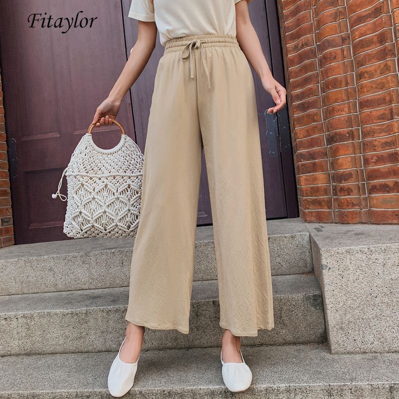 Fitaylor Summer High Waist   Wide     Leg     Pants   Cotton Linen Female Candy Colors Lace Up Ankle-length   Pants   Casual Ladies Trousers