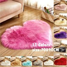 70X90CM Lover Heart Shaped Sheepskin Rugs Faux Wool Slip-resistant Furry Bedroom Carpets Living Room Round Coffee Table Rug
