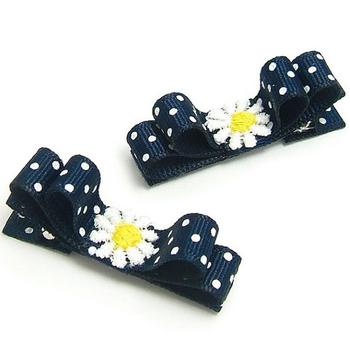 200pcs Ribbon Flower Hair Clip - Navy White Polka Dot - White Daisy Flower Applique  Free Shipping