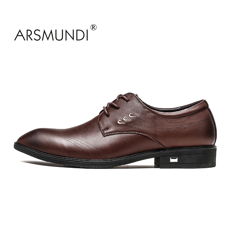 ARSMUNDI  Men Dress Shoes Genuine Leather Black Brown Italian Fashion Business Oxford Shoes 2017  Lace Up Men Formal Dress 98186 2017 fashion italian luxury dress mens shoes genuine leather black brown design flats for men business ol shoes brand oxford