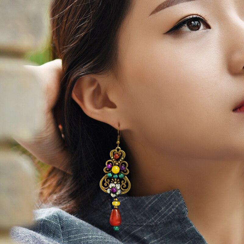 lange ethnische Ohrringe antik für Frauen Muschel Blume rot gelb - Modeschmuck - Foto 4