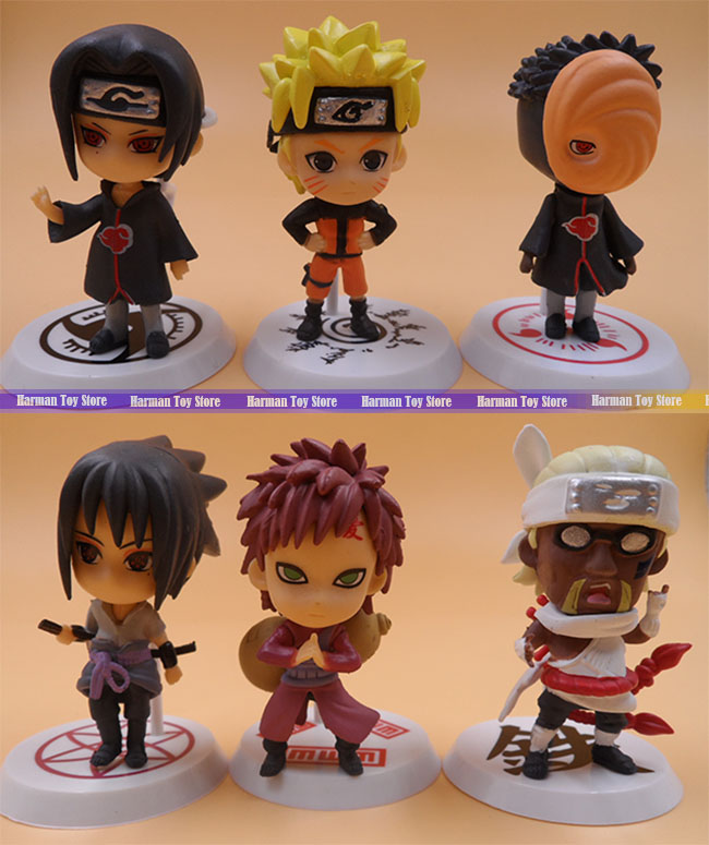 Wholesale price 6pcs/lot 7cm PVC Naruto action figure set Q Edition Toy Collection Naruto japanese anime figures Model toy Set
