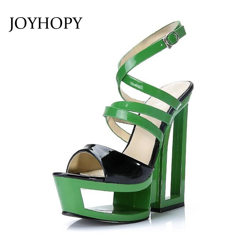 JOYHOPY Candy Color Strange Style Cross-Strap Sandals Mixed Color Women High Heels Shoes Fashion Party Platform Sandals Woman free shipping candy color women garden shoes breathable women beach shoes hsa21