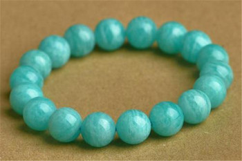 11mm Genuine Green Natural Amazonite Gemstone Bracelets For Women Men Stretch Crystal Round Bead Bracelet Accessories Gift