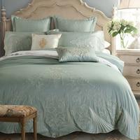 Long staple cotton 100% cotton satin Luxury blue hotel bed linen bedspreads elegant bedding set duvet cover King Queen 7pcs