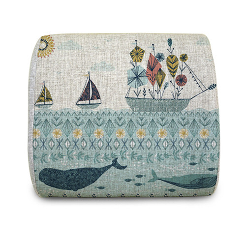 New Sailing Boats in the Blue Ocean with whale fish art painting Soft Memory Foam Waist Cushion design Office Seat Lumbar pillow