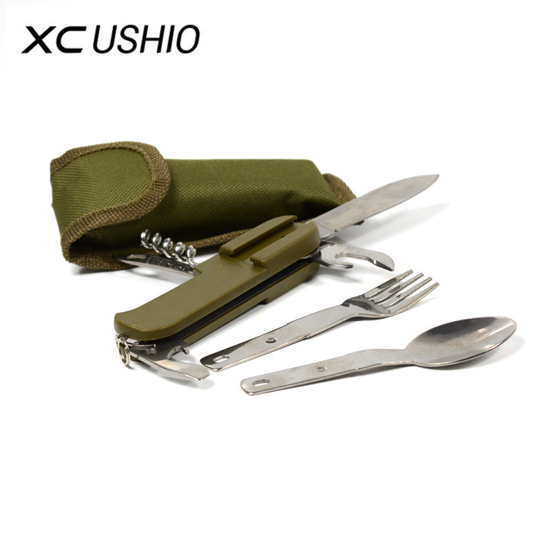 Folding Stainless Steel Outdoor Flatware Camping Picnic Cutlery Knife Fork Spoon Bottle Opener Tableware Portable Travel Kit