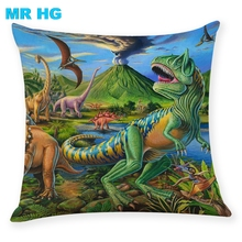 Pillow Case Gift Dinosaur linen Throw pillowcase One side printing  Home Decorative Cover for Sofa Cojines